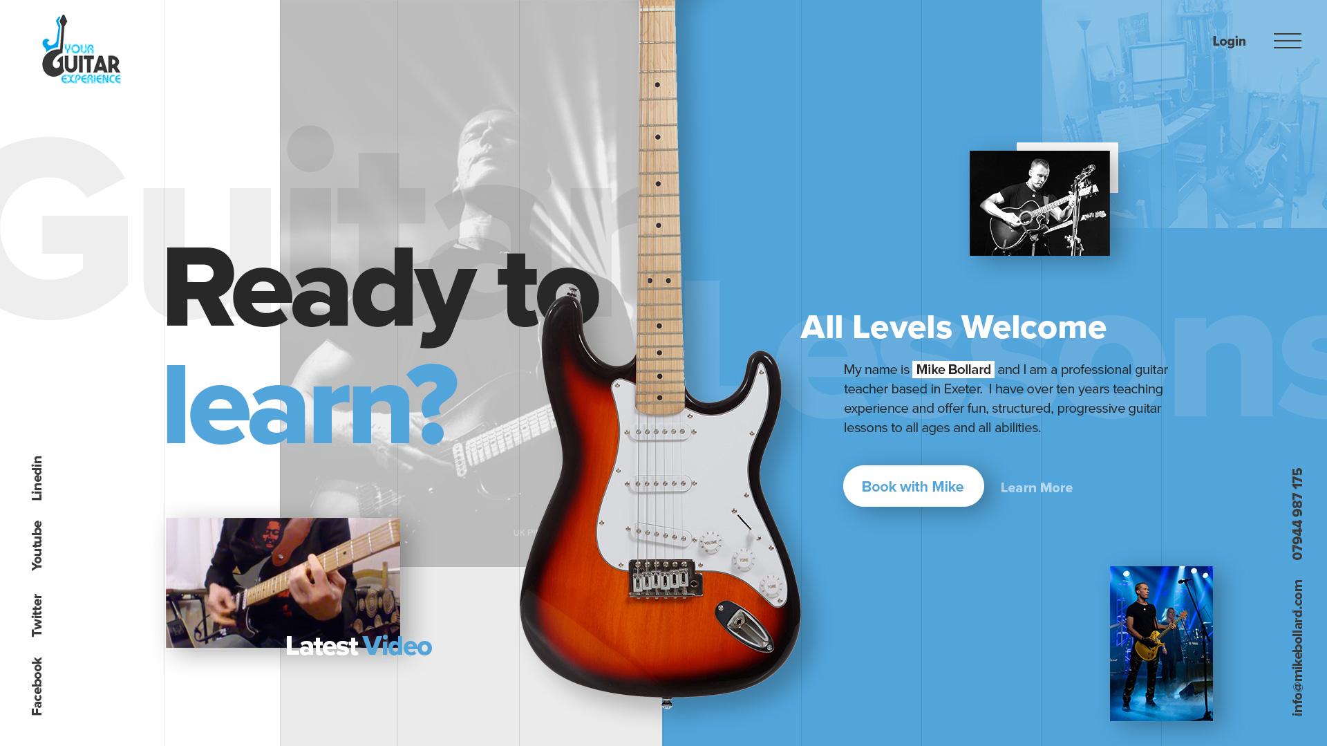 Desktop web design exeter for guitar instructor