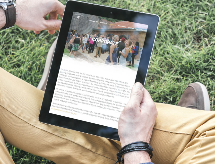 outdoors viewing website on tablet