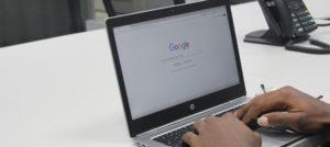 Using google on laptop