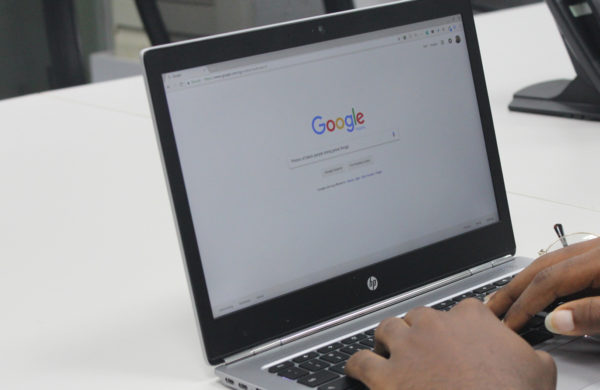 Using google on laptop